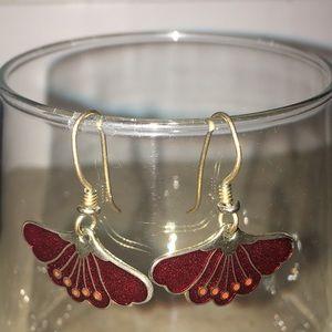 🖤 Genuine Vintage Laurel Burch Red Flower Earrings ✨